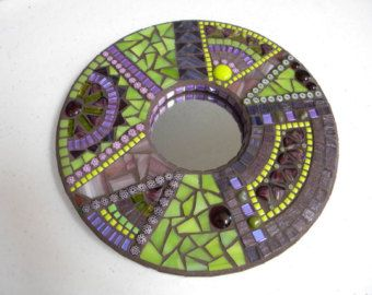 Eclectic Round Mosaic Mirror Original Art door TheMosartStudio