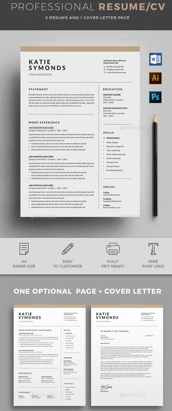 Professional Resume Template On Behance Resume Template Free Resume Design Free Resume Design Template