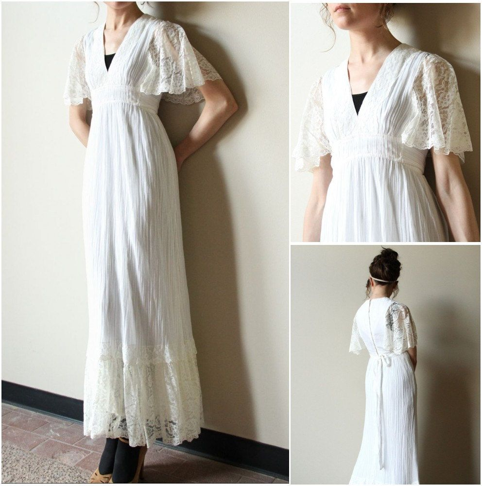 70s Boho Wedding Dress Vintage Hippie Ivory Off White Cream Cotton Gauze Lace Peasant Style Maxi Length Bridal Gown Flutter Sleeves Vintage Wedding Dress Boho Wedding Dresses Vintage Boho [ 1000 x 992 Pixel ]