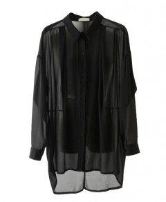 Sheer Chiffon Shirt with Batwing Sleeves