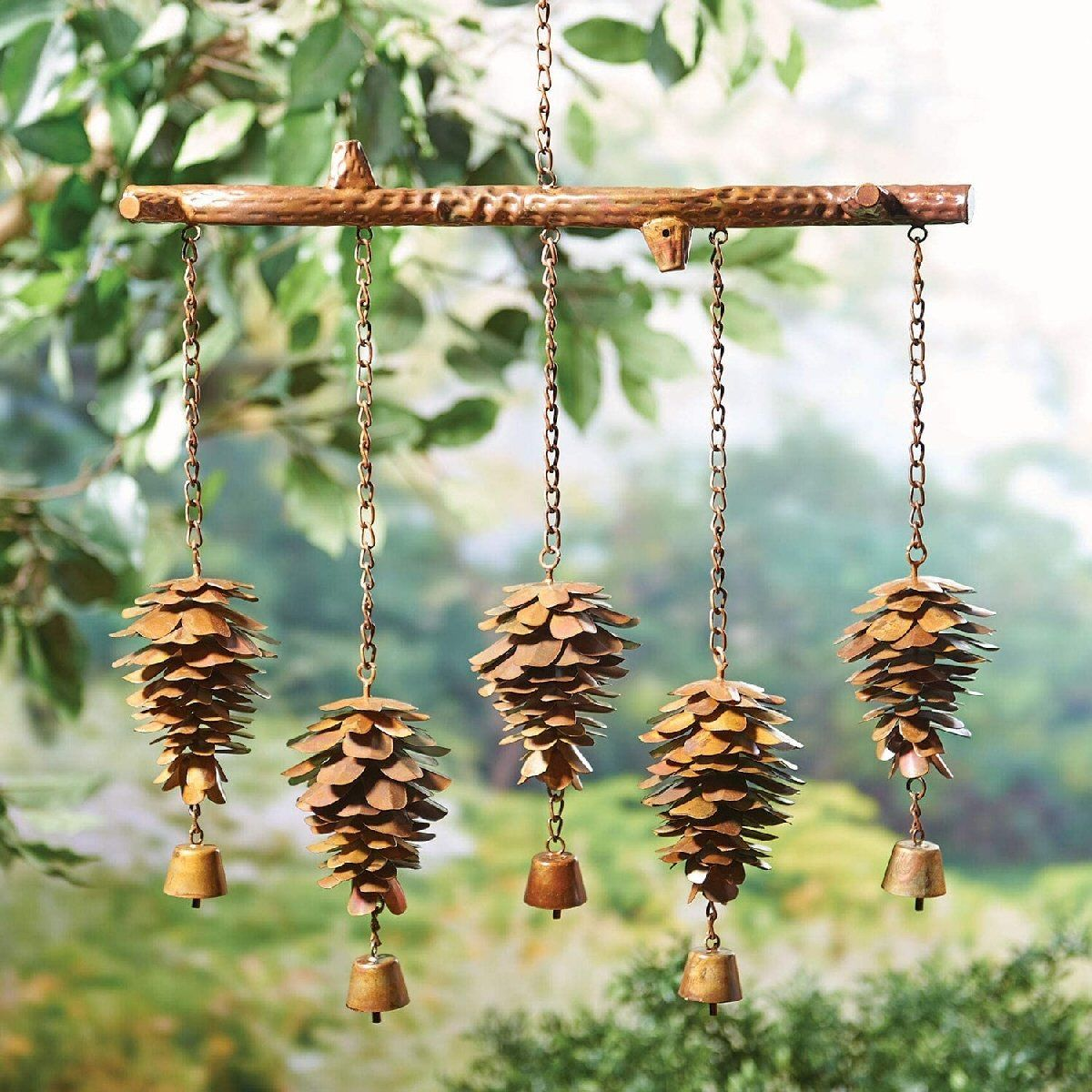 Pine Cones W Bells Flamed Wind Chime In 2020 Wind Chimes Diy Wind Chimes Wiccan Decor - Outdoor Vorhang Wind