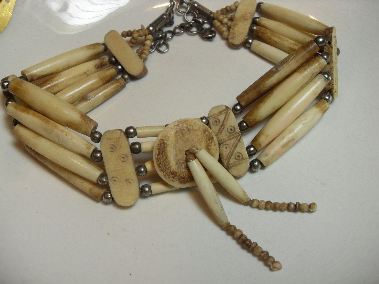 Handmade Large Traditional White Buffalo Bone Hairpipe Beads Tribal Breastplate