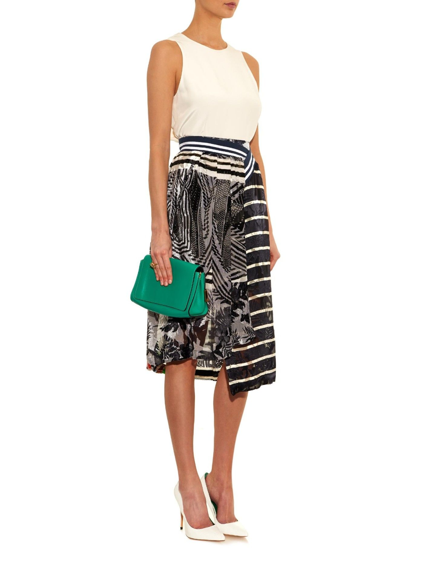 Spin floral and striped devoré silk skirt | Preen By Thornton Bregazzi | MATCHESFASHION.COM AU