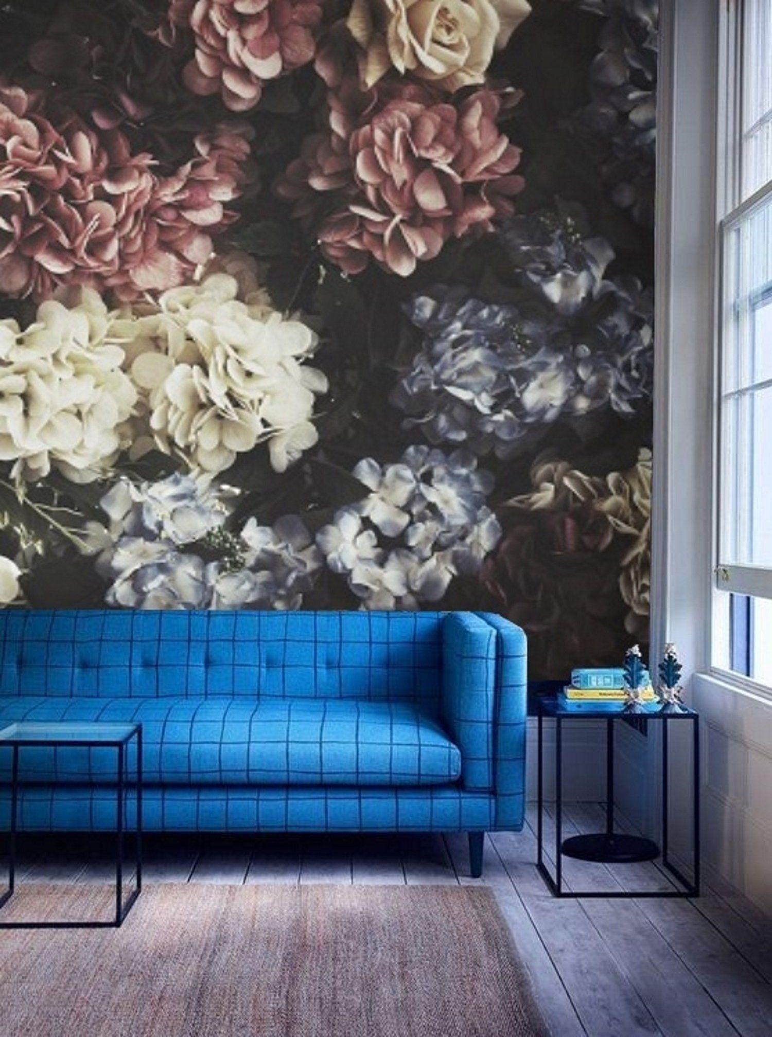 Dark Floral Mural Wallpaper Remove Peel And Stick Wallpaper