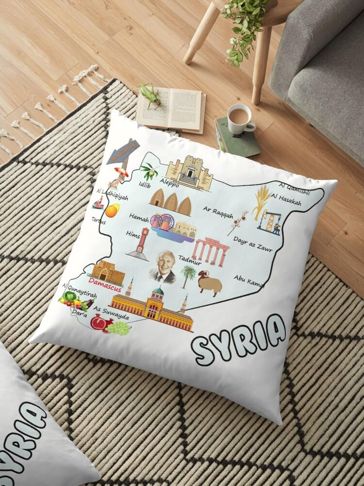 Syria Map Major Cities Names Flag Syrian National Symbols And Landmarks خريطة سوريا مع اهم المدن واهم المعالم الاقتصادية والاجتماعية والسياحية Floor Pillow B Syria Map Floor Pillows National Symbols