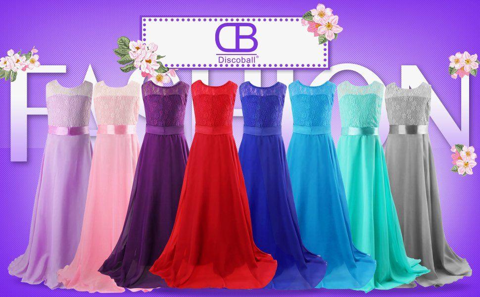 Discoball girls lace dress chiffon gown dress floor length