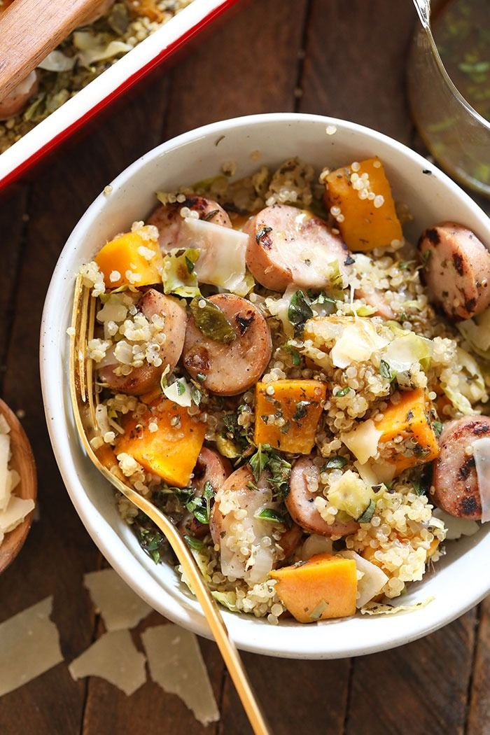 This Chicken Apple Sausage Quinoa Casserole is packed with shredded brussel sprouts and sweet potatoes. It is the perfect healthy meal for an easy weeknight dinner or is perfect for meal prep for the week! It is high in protein and delicious! #sausagedinner