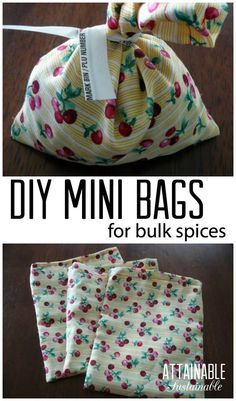 No more little plastic spice bottles in the trash! Learn to make these mini fabric bags for purchasing bulk items in small quantities. Greener living, less waste here you come!