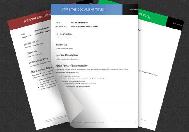 Job Description Templates for Word BUSINESS INFORMATION