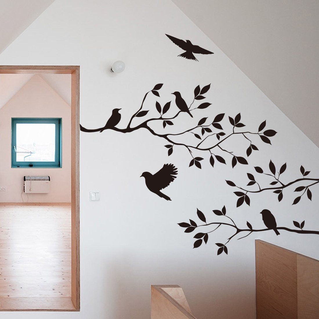 Black Bird Tree Branch Wall Stickers Wall Decal Removable Art Home - Diy wall decor birds