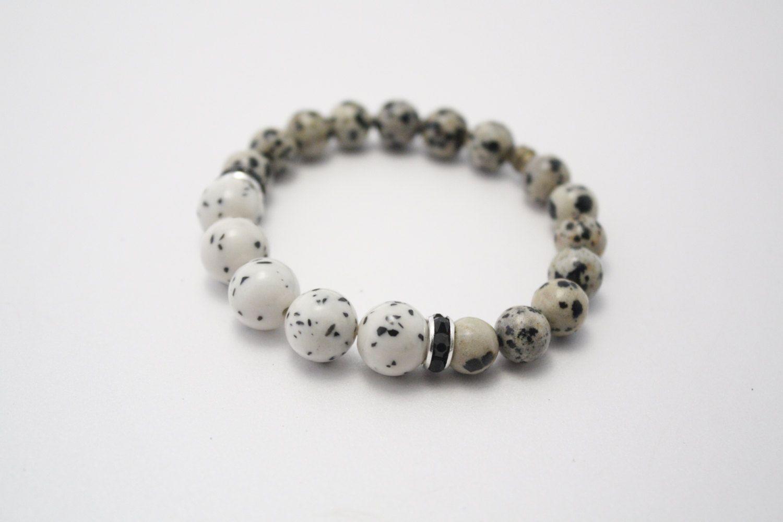 Natural stones bracelet, jadeite, Dalmatian jasper, stone bracelet, jasper bracelet, jadeite bracelet, beaded bracelet, semi-precious by PastimeArt on Etsy