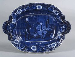Blue Transfer Printed Staffordshire Handled Dish