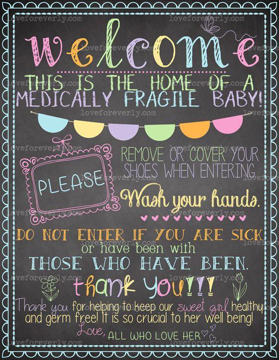 Very Medically Fragile Baby Child Door Sign Special Needs Chalkboard  VM48