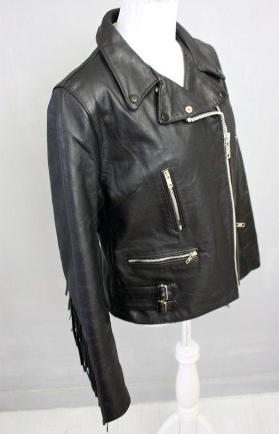 Biker Babe Genuine Fringe And Black Leather Moto Jacket Drag Specialties Harley Vintage 1980s V Black Leather Moto Jacket Leather Moto Jacket Moto Jacket