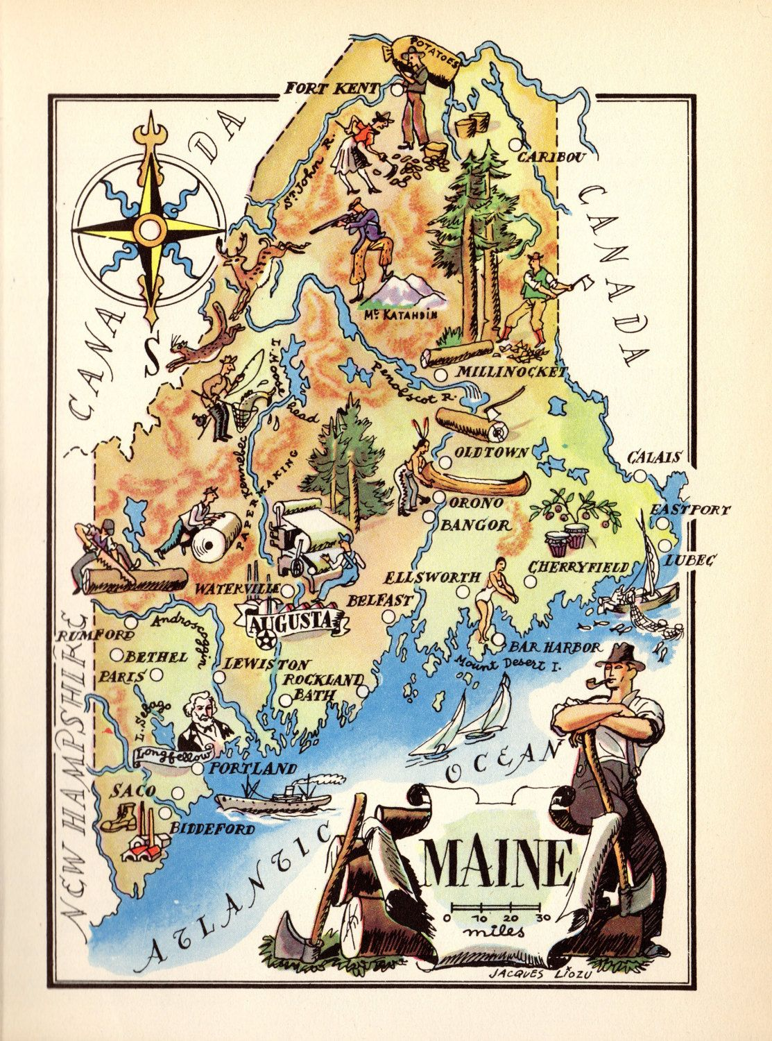 S Animated Maine Map State Map Of Maine Print Cartoon