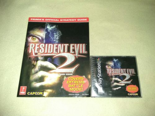 Resident Evil 2 Sony PlayStation 1 COMPLETE W PRIMAS STRATEGY GUIDE RARE