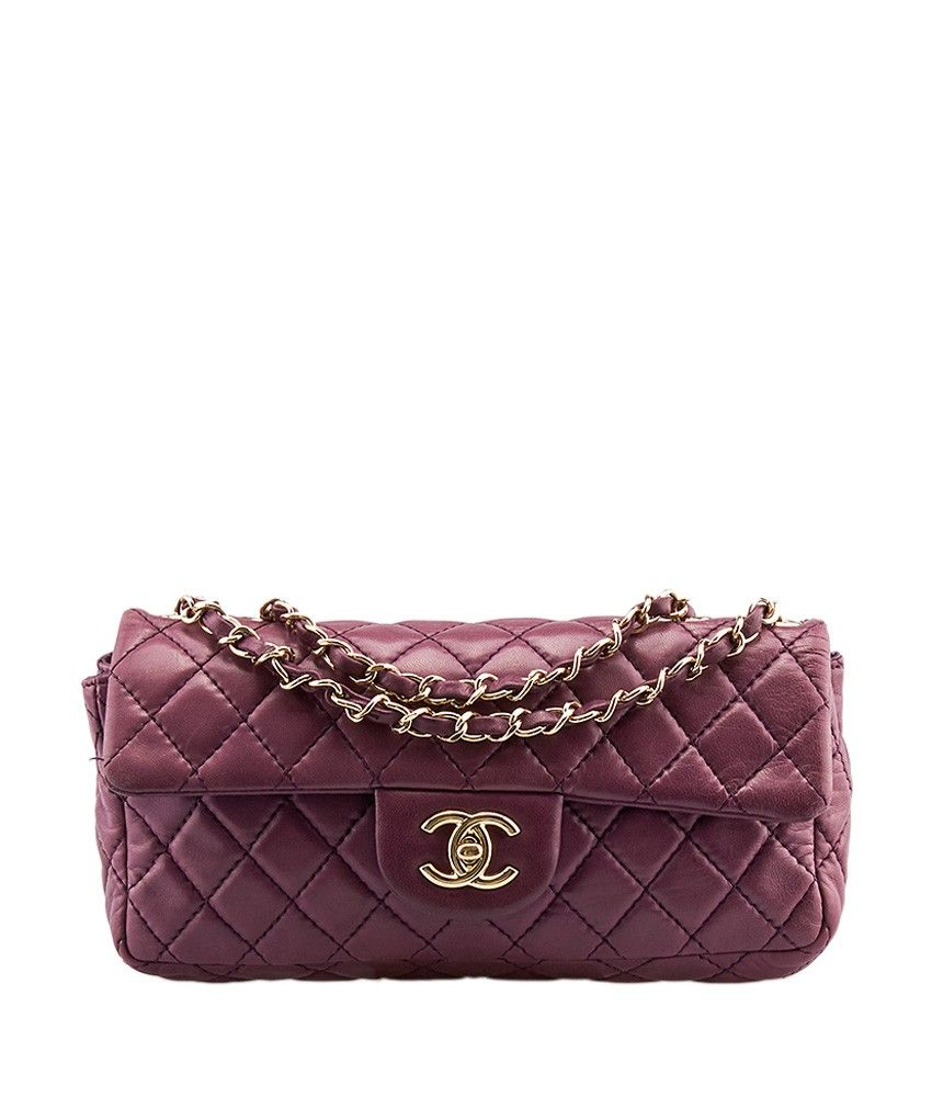 1235be70d9fb Chanel East West Purple Quilted Lambskin Leather Shoulder Bag ...
