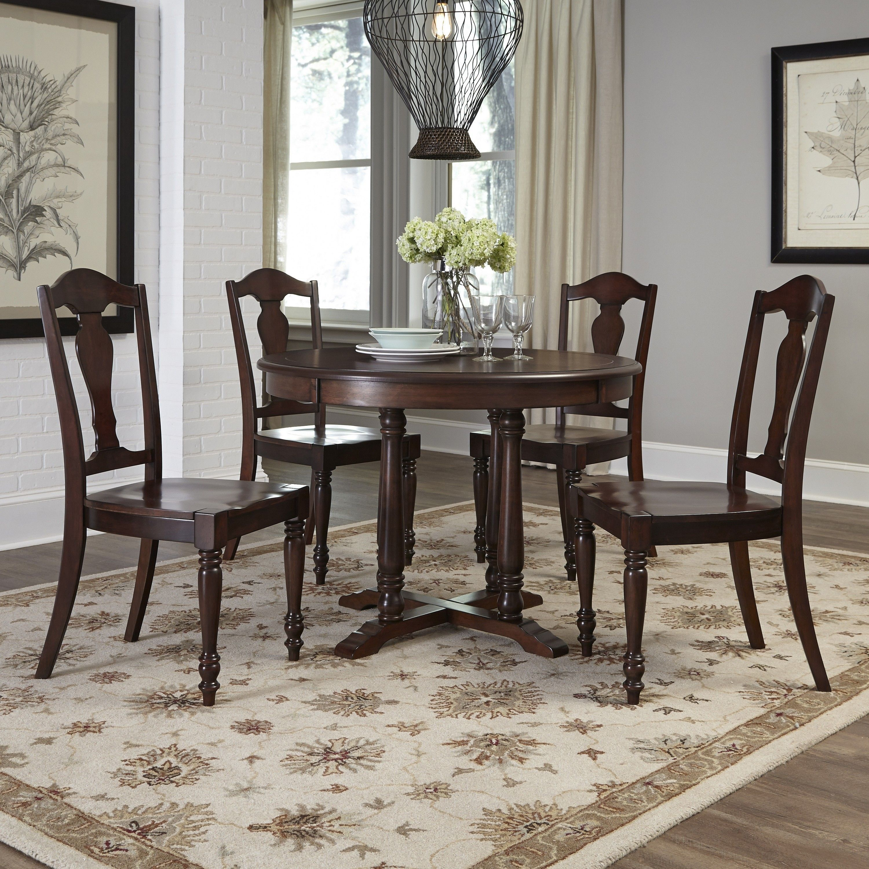 Home styles country comfort piece dining set aged bourbon brown