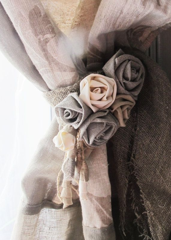 rustique papillon dos bio fleur lin rideau embrasse par vishemir maison rideaux embrasse. Black Bedroom Furniture Sets. Home Design Ideas