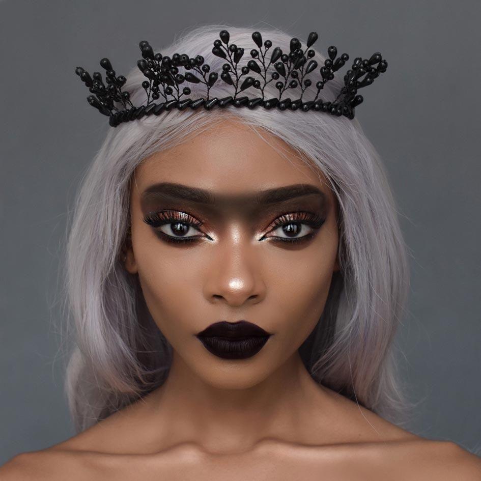 Dark descent black beaded crown crown and halloween