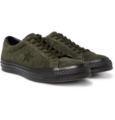36bb0d4b282a CONVERSE ONE STAR OX BRUSHED-SUEDE SNEAKERS - GREEN.  converse  shoes