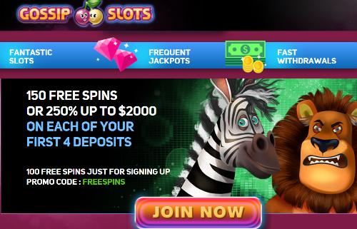 Gossip Slots casino signup bonus and free spins Slot