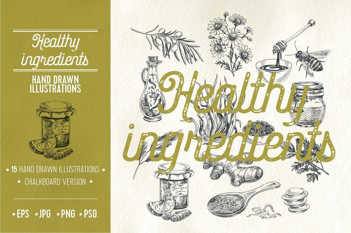 Hand drawn healthy ingredients | Hand drawn