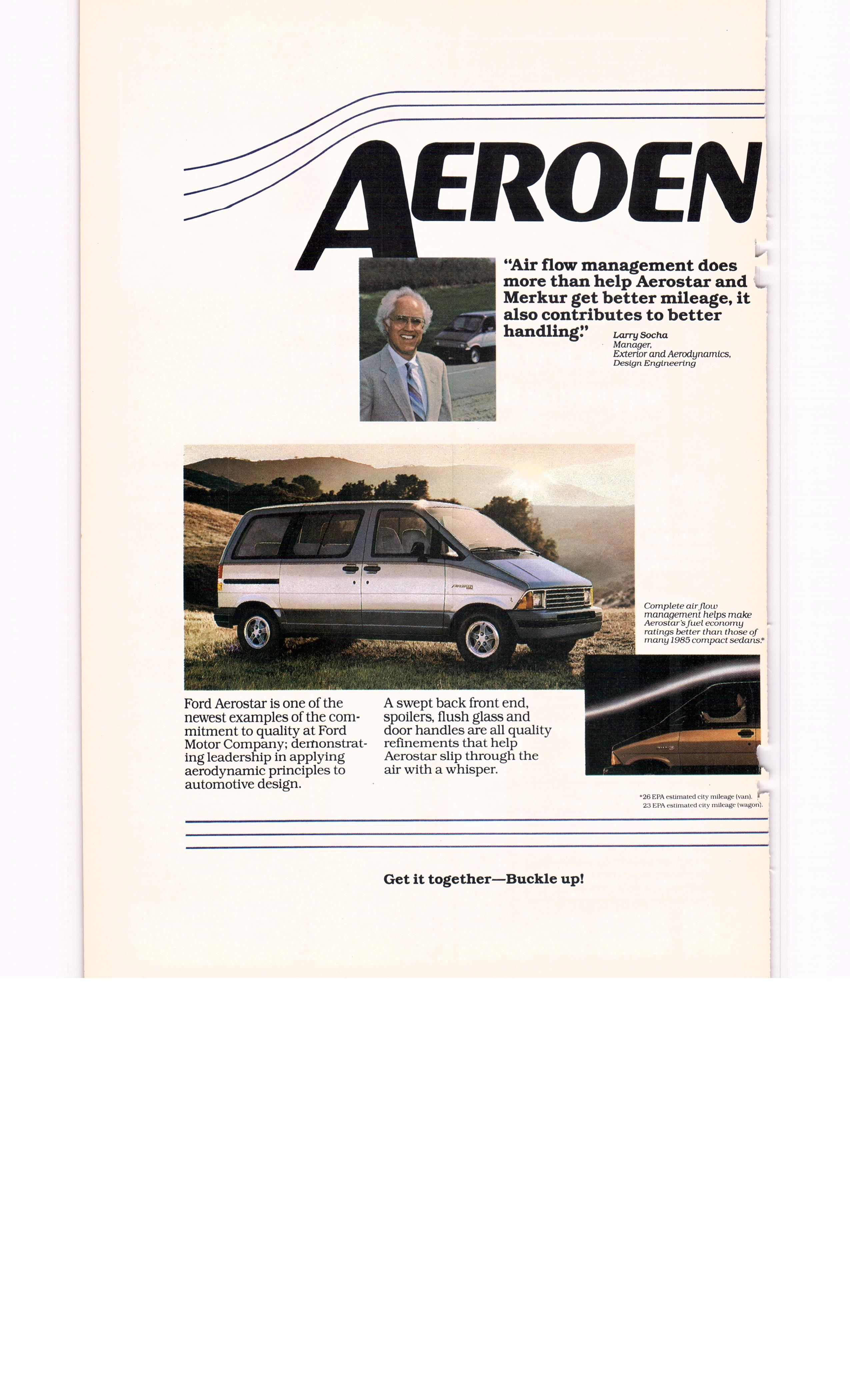 1985 Ford Aerostar Debut Ad 3 Of 4 National Geographic October 1985 Ford Aerostar Automotive Design Ford