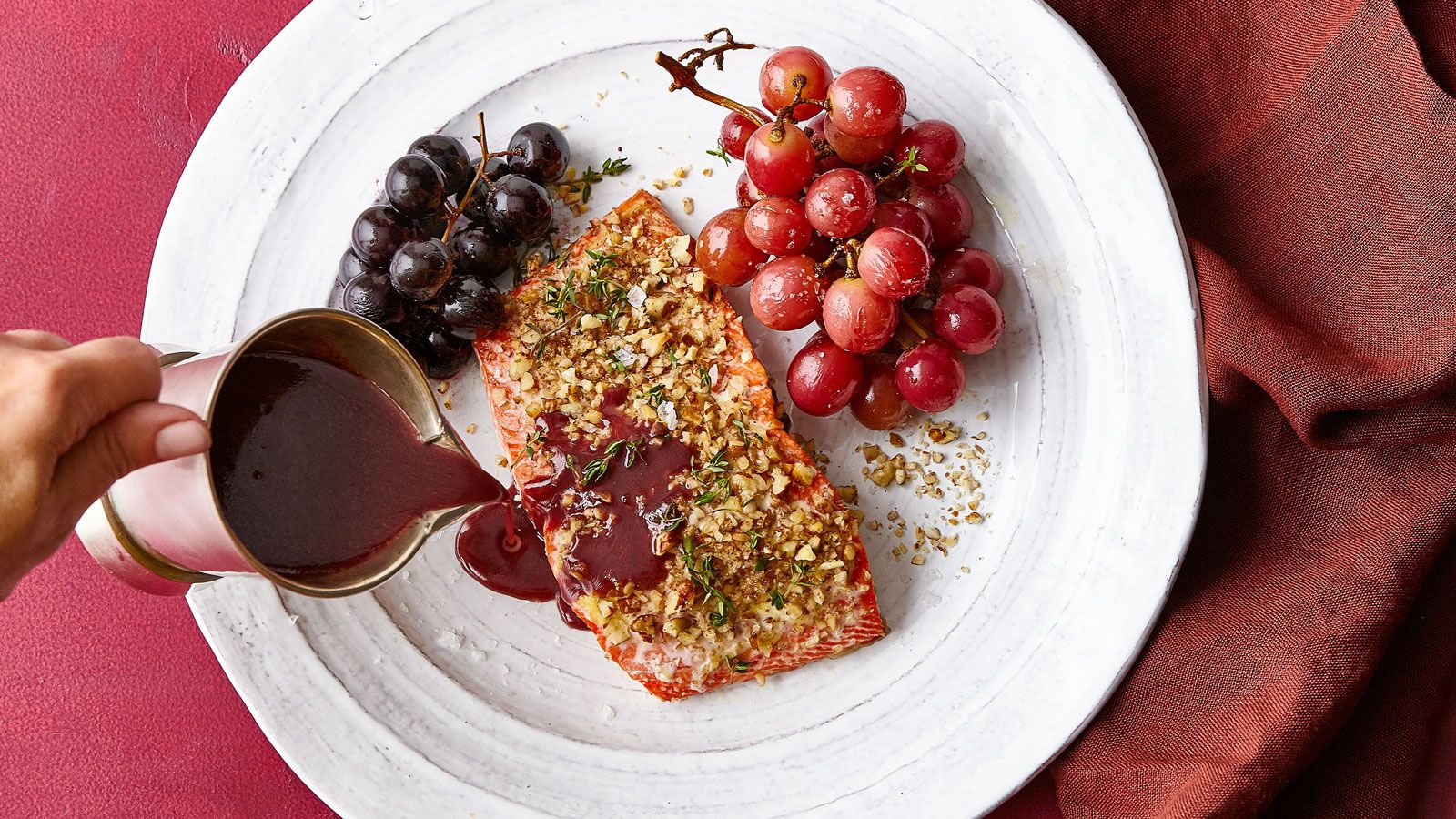 Pecan Crusted Wild Salmon With Roasted Grapes And Red Wine Sauce Food Baked Salmon Seafood Dishes