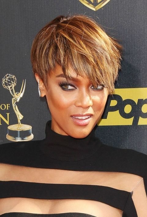 55 Short Hairstyle Ideas For Black Women Black Women Hairstyles Hair Styles Tyra Banks Short Hair