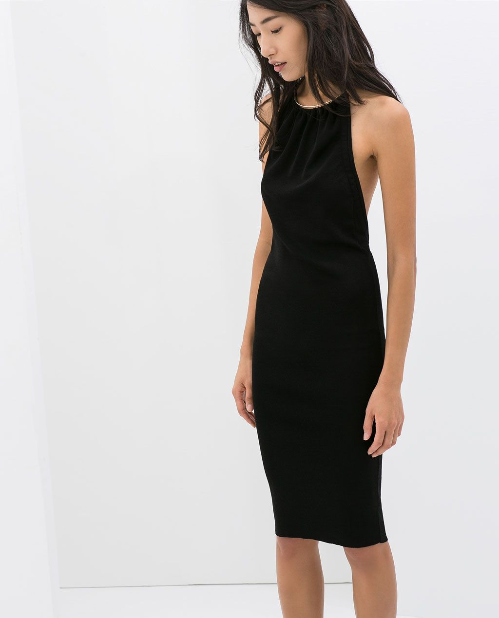 zara  woman  open back dress with metal collar  dress