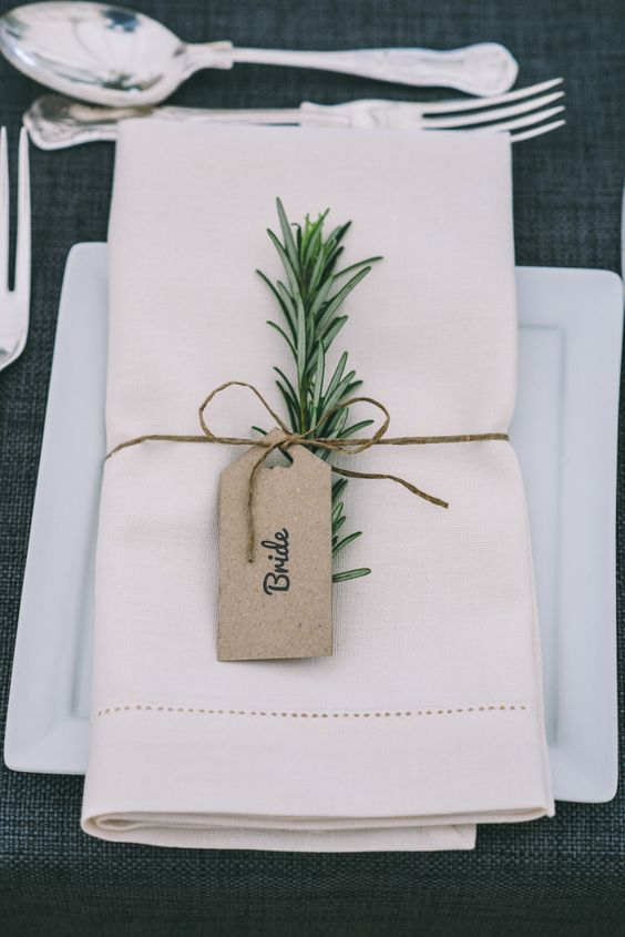 rosemary twine luggage tag place name setting decor home made country festival wedding www