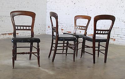 Set Of 4 Antique Victorian Hairpin Back Dining Chairs