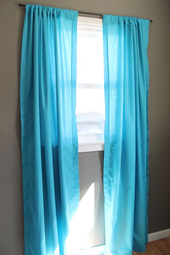 Ocean Blue Curtains Bright Modern Window Treatments Lightweight Aqua Solid Color Curtain Panel Pair Ready To Ship