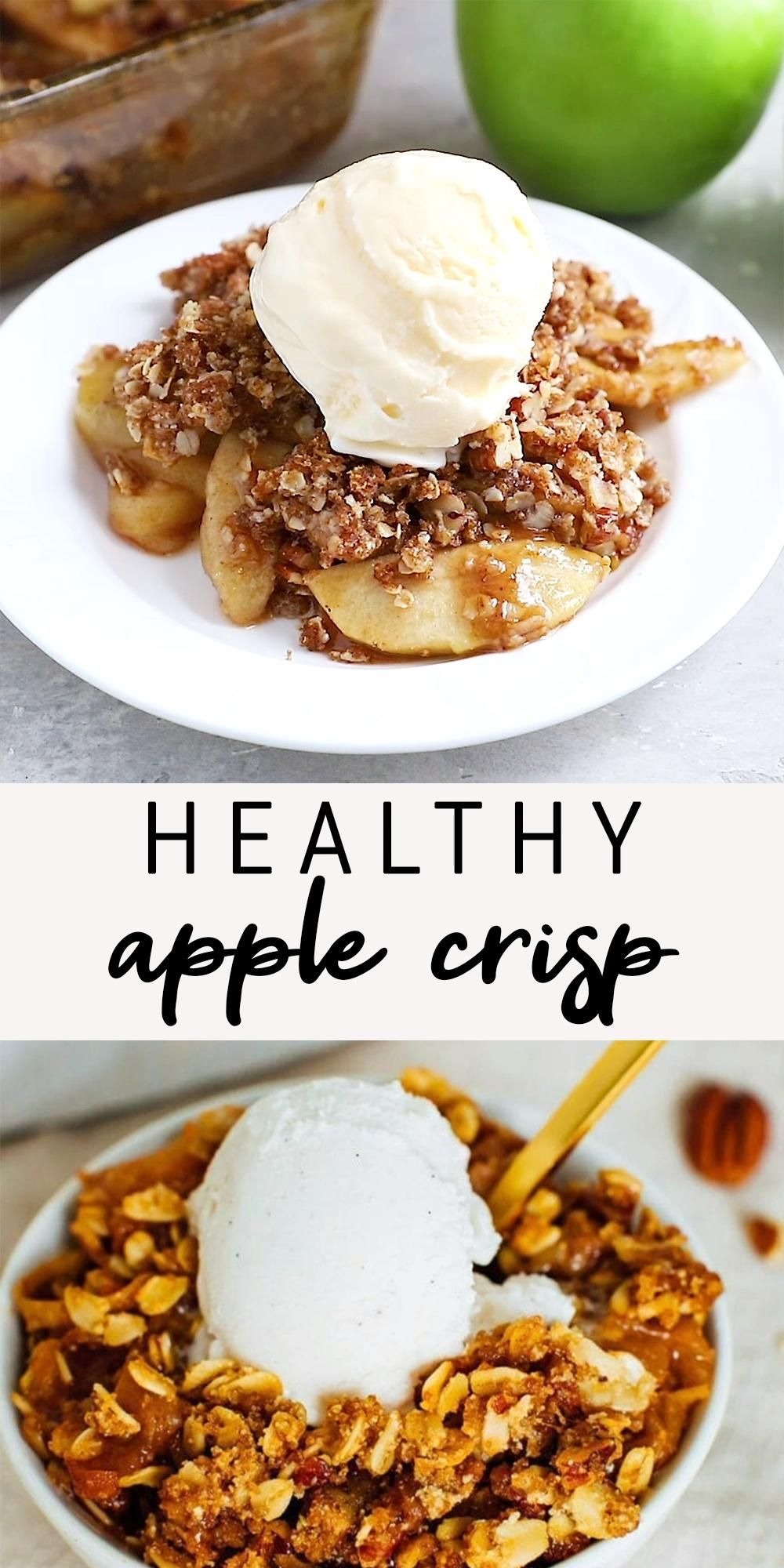 Healthy Apple Crisp with Oatmeal Pecan Topping | E