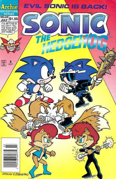 Cover For Sonic The Hedgehog Archie 1993 Series 24 Newsstand Edition Archie Comic Books Sonic The Hedgehog Sonic