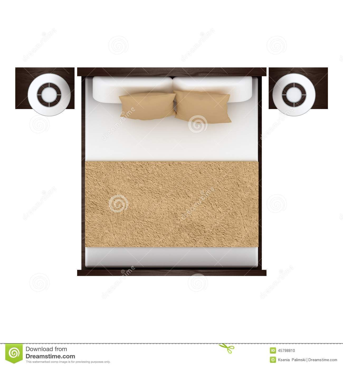 Bed Top View Isolated On White Background