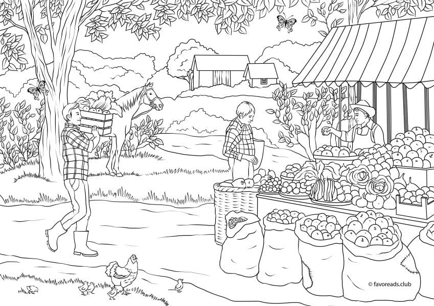 Country Spring Country Market Printable Adult Coloring Pages