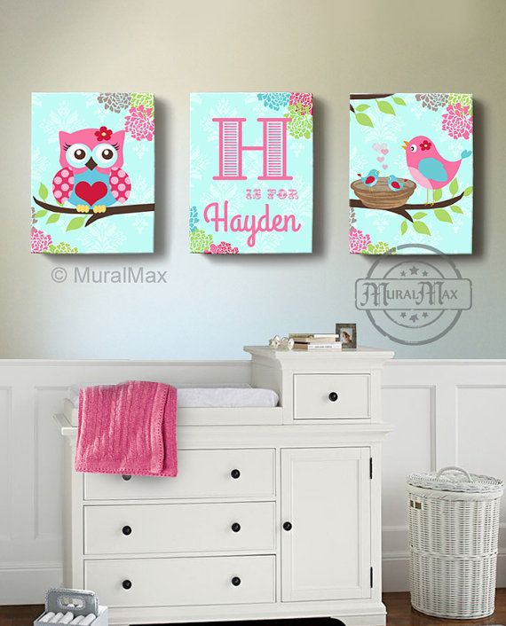 Owl Nursery Decor Canvas Art Baby