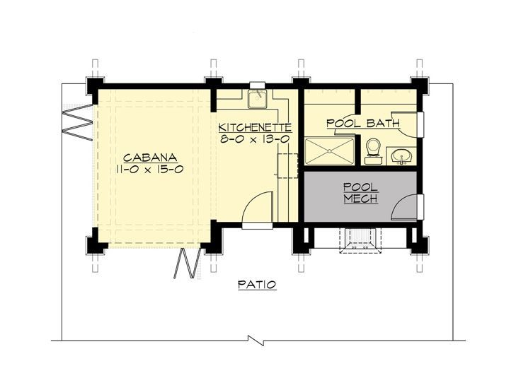 Pool House Plans Pool Cabana With Outdoor Kitchen 035p 0001 At Www Theprojectplanshop Com Pool House Plans Floor Plans Pool House