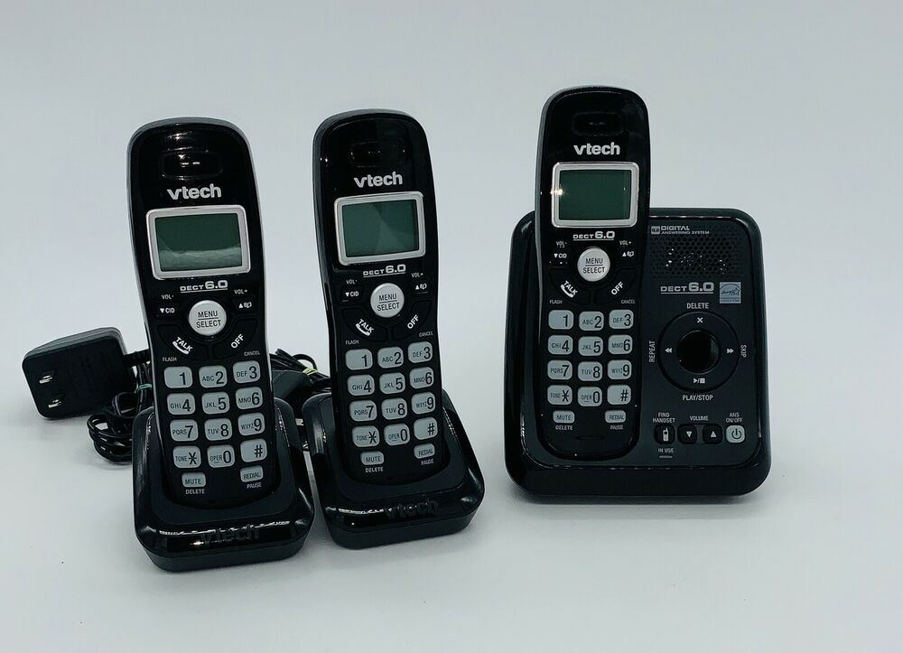 Vtech Dect 6 0 Cordless Phone Answering System 3 Handsets Caller Id Wall Mount Ebay Cordless Phone Cordless Telephone Handset