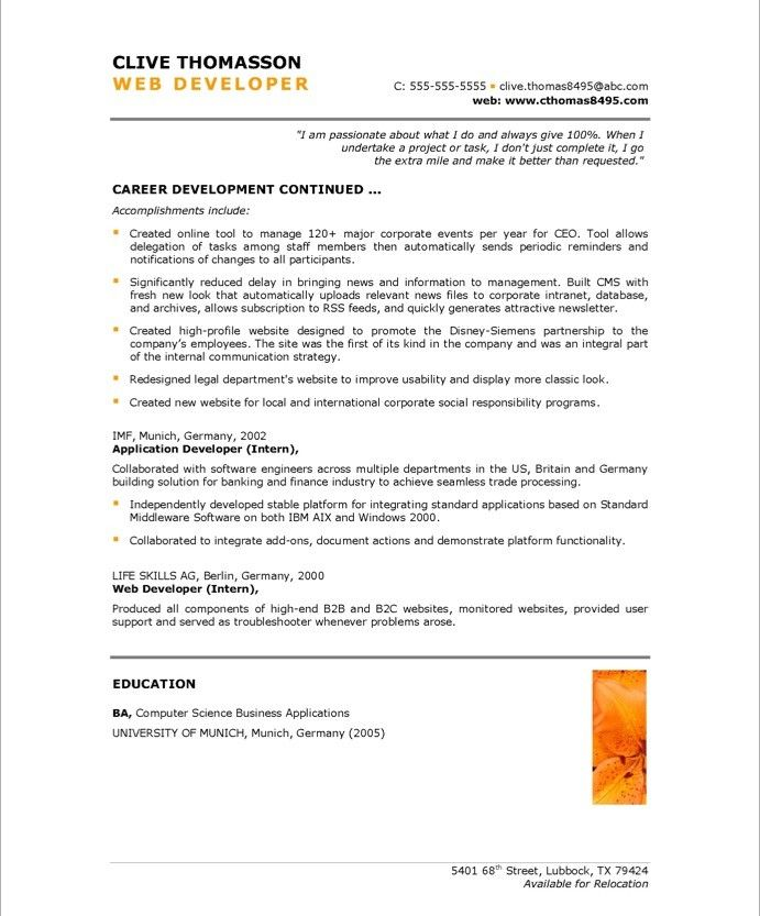 web developer resume summary statement examples