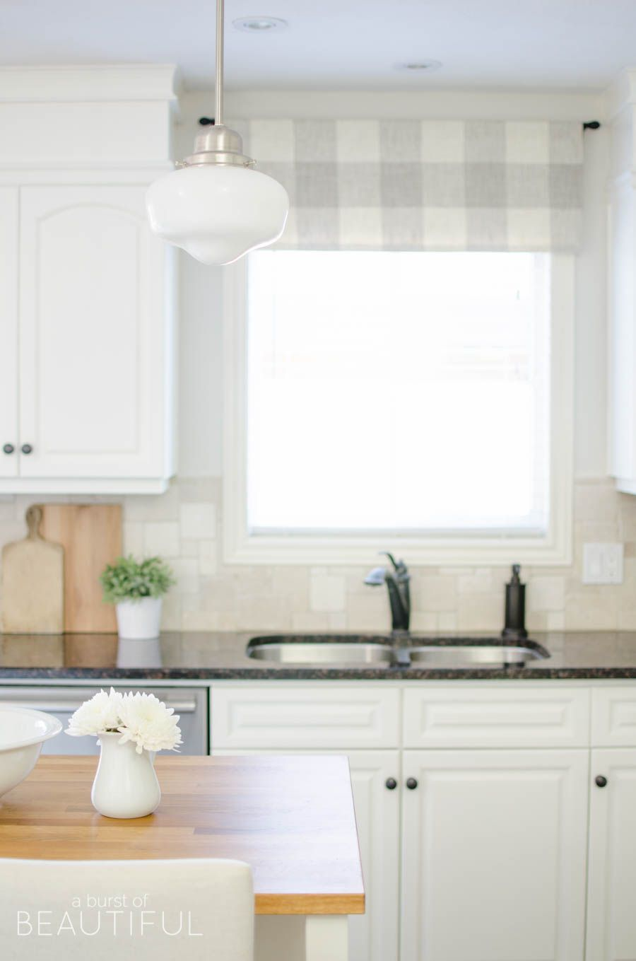 A Window Valance Made From Neutral Buffalo Check Fabric Compliments This Simple Farmhouse Kitchen Perfectly Visit Aburstofbeautiful For The Full