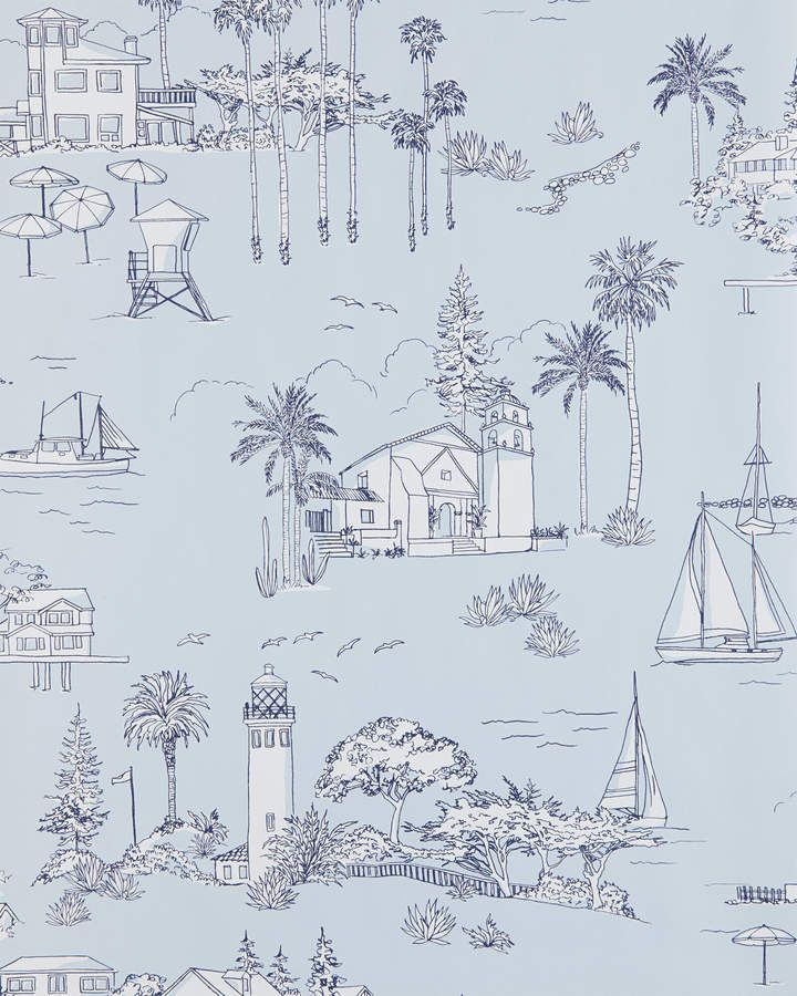 Serena & Lily Westwind Toile Wallpaper Swatch Toile
