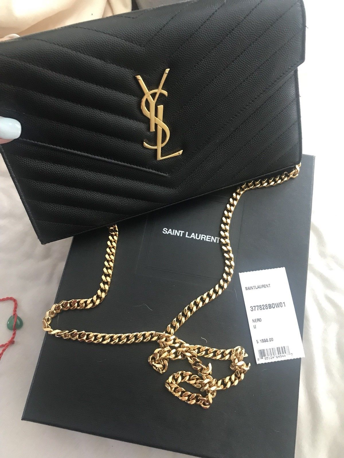 b6ebcfbc847 Yves Saint Laurent YSL Black Leather Monogram Wallet on Chain Crossbody
