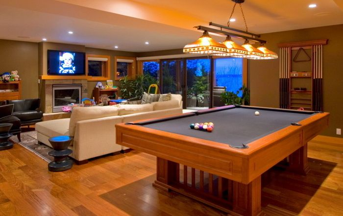 Modern Living Room Design With Billiard Pool At The Center Http://www.
