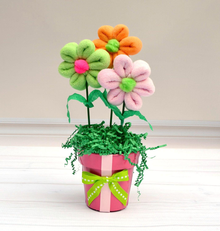 Baby Flower Arrangement Baby Washcloth Flower Gift Baby Shower