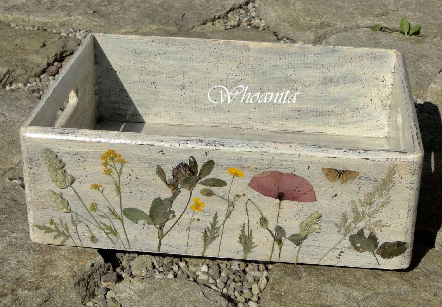 Drewniana Skrzynka Z Suszonymi Kwiatami Decoupage Decoupage Decorative Boxes Diy