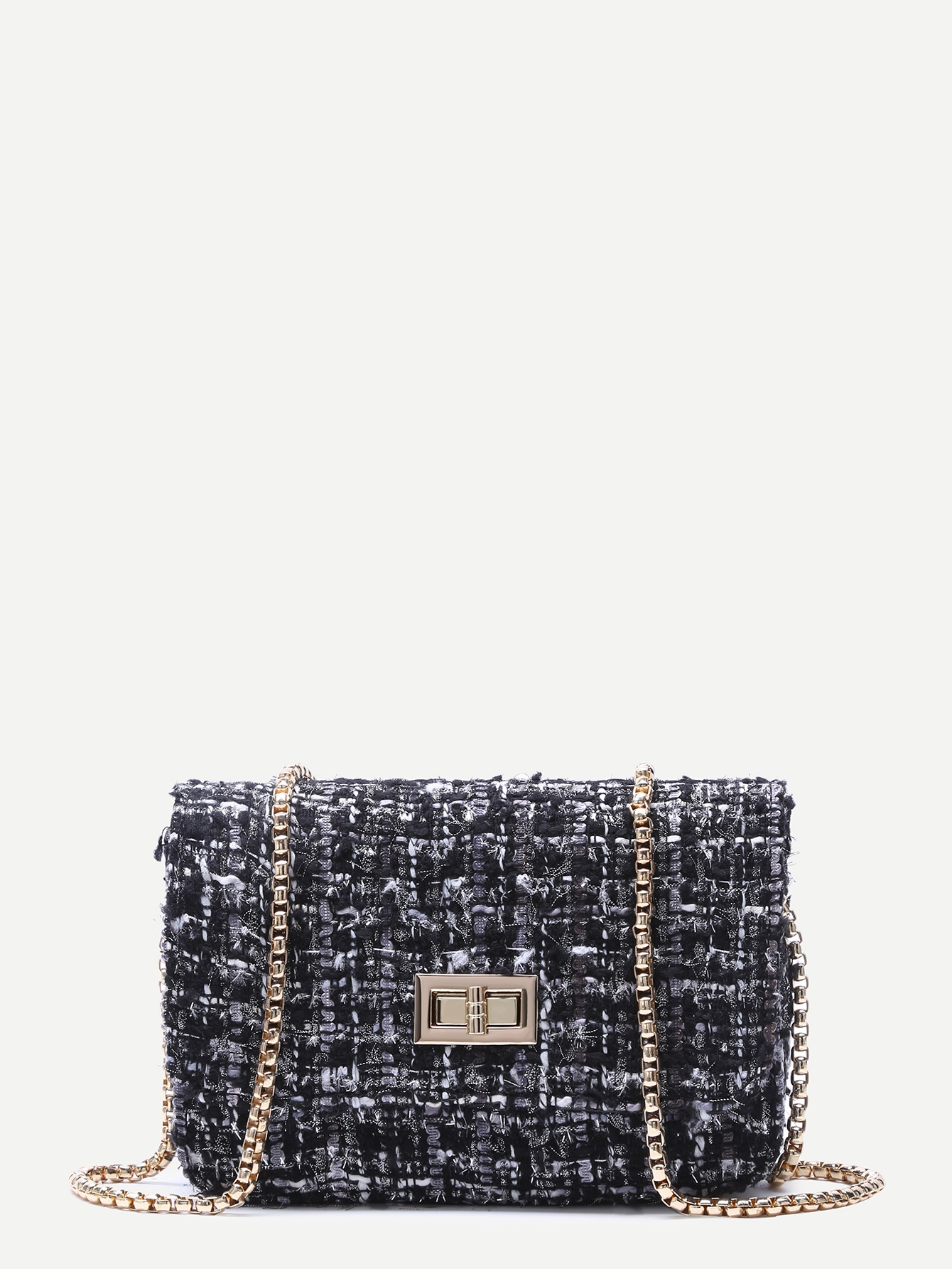 21$  Watch now - http://di9dv.justgood.pw/go.php?t=13679 - Black Woolen Box Bag With Chain Strap