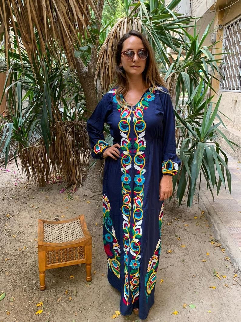 Boho Navy Blue Summer Caftan Long Sleeve Caftan Dress Etsy Summer Caftan Embroidery Designs Fashion Caftan Dress [ 1059 x 794 Pixel ]